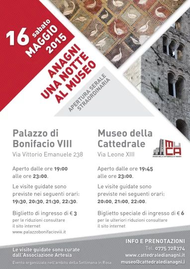 Locandina apertura serale Musei Anagni del 16 maggio 2015