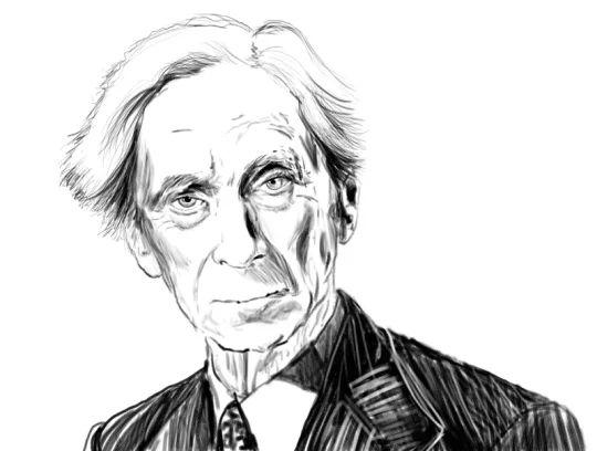 Ritratto di Bertand Russell reallizato per la copertina del libro Sulla Denotazione