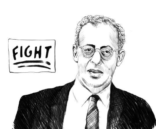 Ritratto di Saul Alinksy reallizato per la copertina del libro Saul Alinsky. Rivoluzionario Democratico