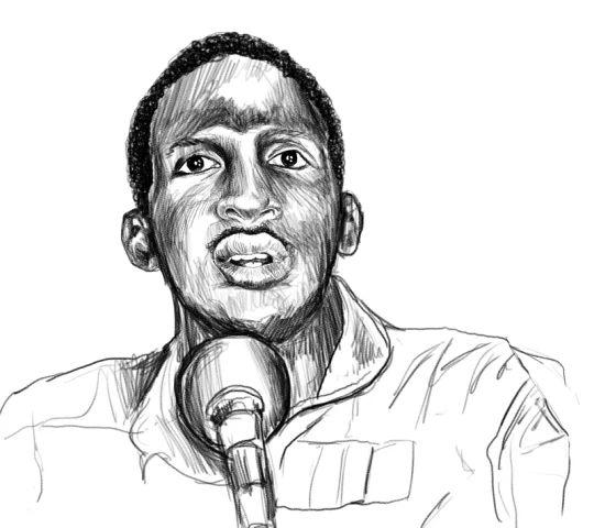Ritratto di Thomas Sankara reallizato per la copertina del libro Rivoluzioni permanenti