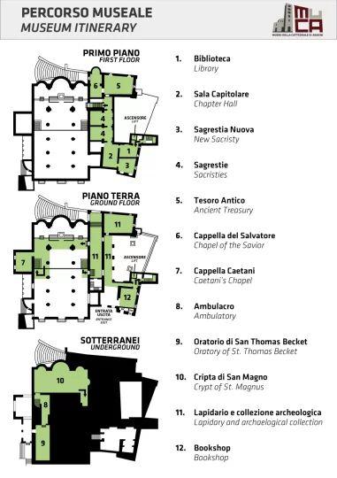 Planimetrie degli ambienti visitabili della Cattedrale