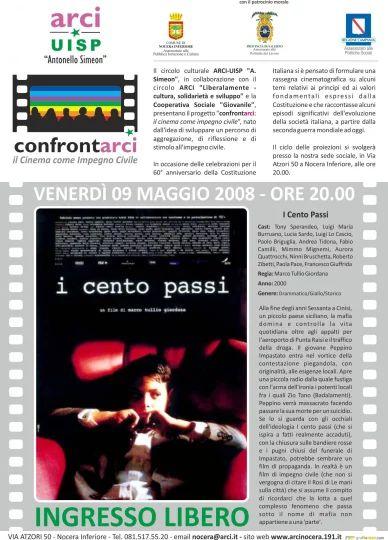 Locandina proiezione film I cento Passi