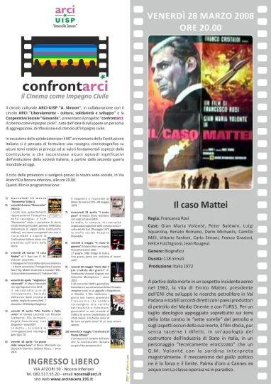 Locandina proiezione film Il caso Mattei