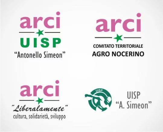 Loghi delle Associazioni culturali ARCI UISP A. Simeno, ARCI Liberalamente, ARCI Comitato Territoriale Agro Nocerino e UISP A. Simeon Nocera